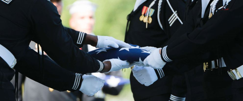 PHOTO: The flag placed on the coffin of Kevin Bushell during his funeral at Arlington National Cemetery in October 2017, killed after the destroyer USS McCain collided with a merchant ship off the coast of Singapore on August 21, 2017.