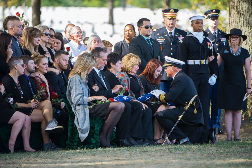 PHOTO: The family of Kevin Bushell at his funeral in Arlington National Cemetery in October 2017. Kevin was killed after the destroyer USS McCain collided with a merchant ship off the coast of Singapore on August 21, 2017.