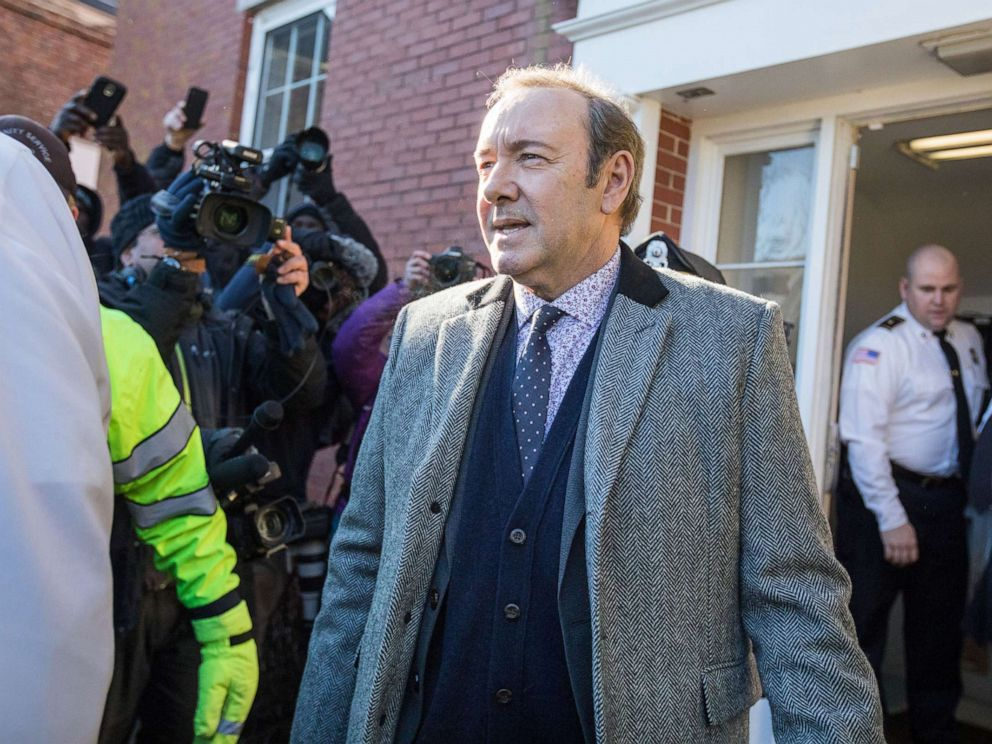 PHOTO: Actor Kevin Spacey leaves Nantucket District Court after being arraigned on sexual assault charges, Jan. 7, 2019, in Nantucket, Mass.