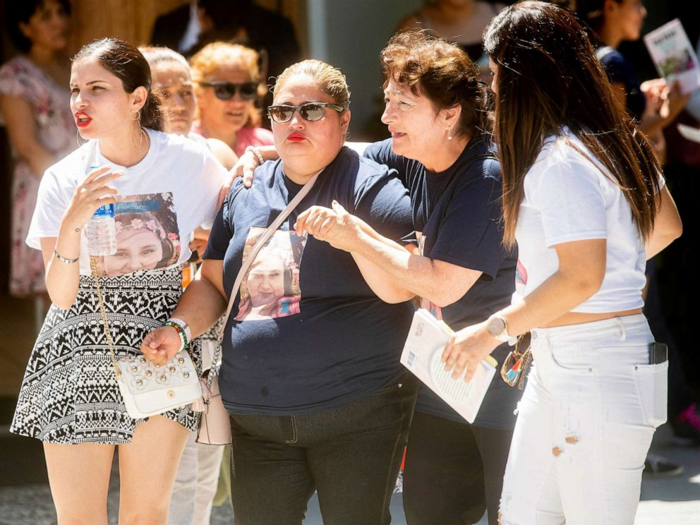PHOTO: Lorena Pimentel de Salazar, center, leaves a funeral for her daughter Keyla Salazar, 13, on Aug. 6, 2019, in San Jose, Calif.