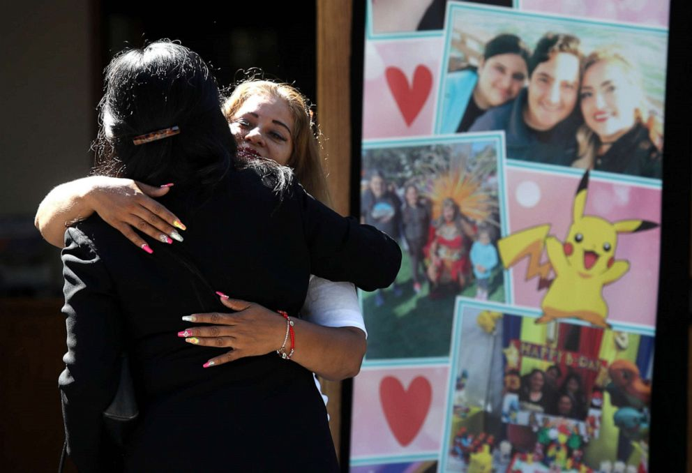 PHOTO: Mourners embrace before the start of funeral services for 13-year-old Keyla Salazar at Our Lady of Guadalupe Church on August 06, 2019, in San Jose, Calif.