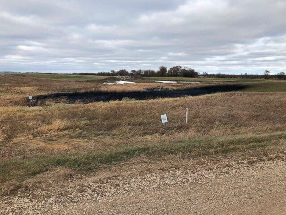 PHOTO: This image was taken October 30, 2019, provided by the North Dakota Department of Environmental Quality showing affected lands from a Keystone oil pipeline leak near Edinburg, North Dakota.