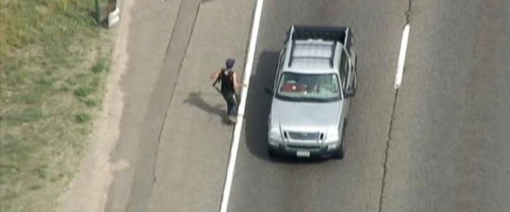 PHOTO: Helicopter footage shows a man terrorizing motorists on Interstate 70 in Jefferson County, Colorado, July 23, 2014.