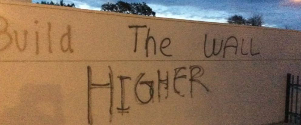 """PHOTO: The Windsor Police Department is investigating what its police chief called """"offensive and disrespectful graffiti"""" found at Cali Calmecac Language Academy in Windsor, Calif., on Oct. 24, 2016."""
