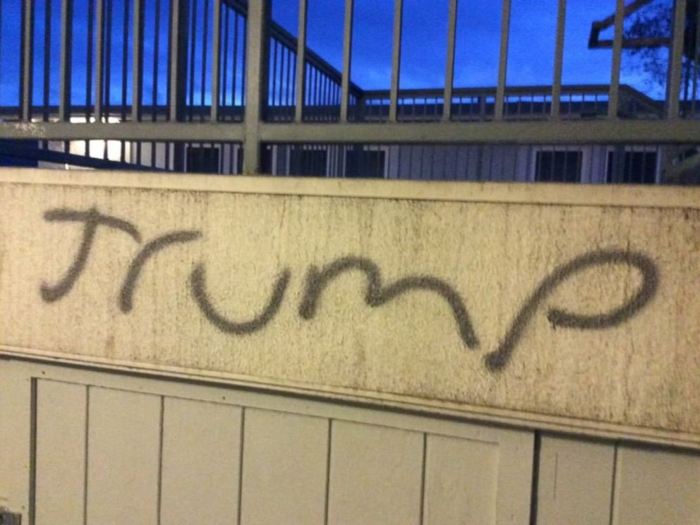 PHOTO: The Windsor Police Department is investigating what its police chief called offensive and disrespectful graffiti found at Cali Calmecac Language Academy in Windsor, Calif., on Oct. 24, 2016.