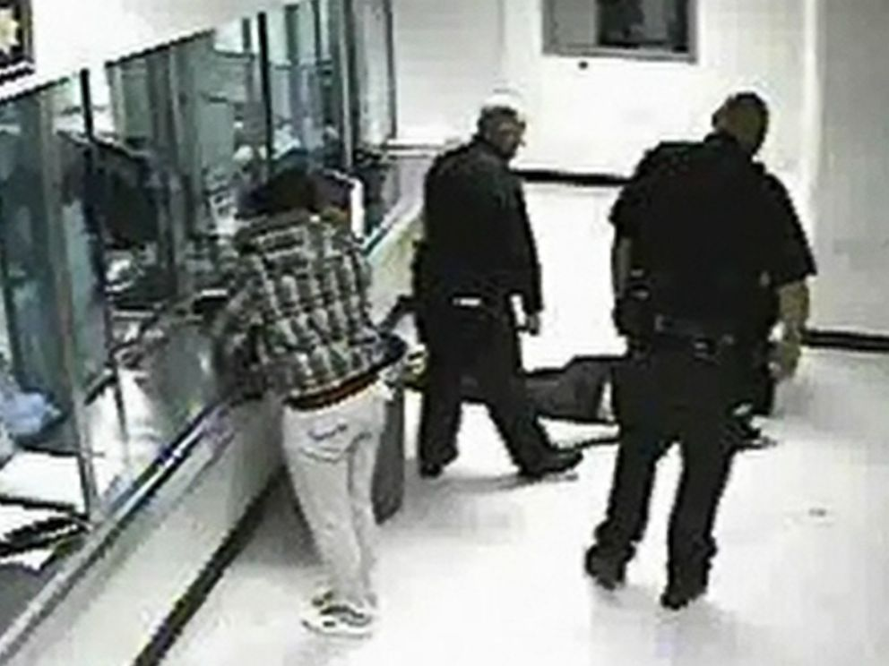 PHOTO: Footage from inside the Santa Rita jail shows Sheehan, then 27, unconscious on the floor.