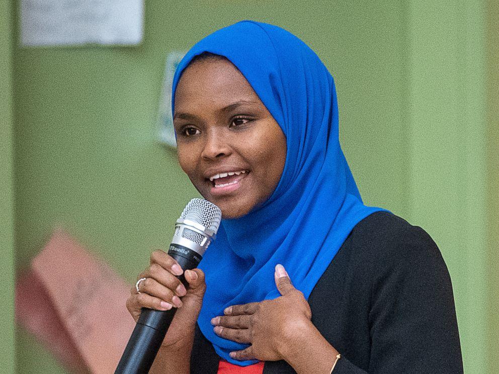 PHOTO: Safiya Khalid speaks at a candidates forum at Geiger Elementary School in Lewiston, Maine.