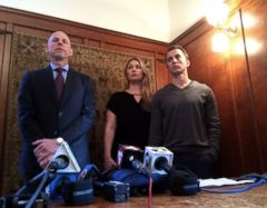 PHOTO: Lawyer Anthony Douglas Rappaport speaks at a news conference with his clients, Denise Huskins and her boyfriend Aaron Quinn, right, in San Francisco, Sept. 29, 2016.