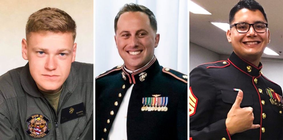 PHOTO: Cpl. Daniel E. Baker, of Tremont, Ill., Maj. James M. Brophy, of Staatsburg, N.Y., and Staff Sgt. Maximo A. Flores, of Surprise, Ariz., are three of the five Marines killed in a mishap off the coast of Japan on Dec. 5, 2018.