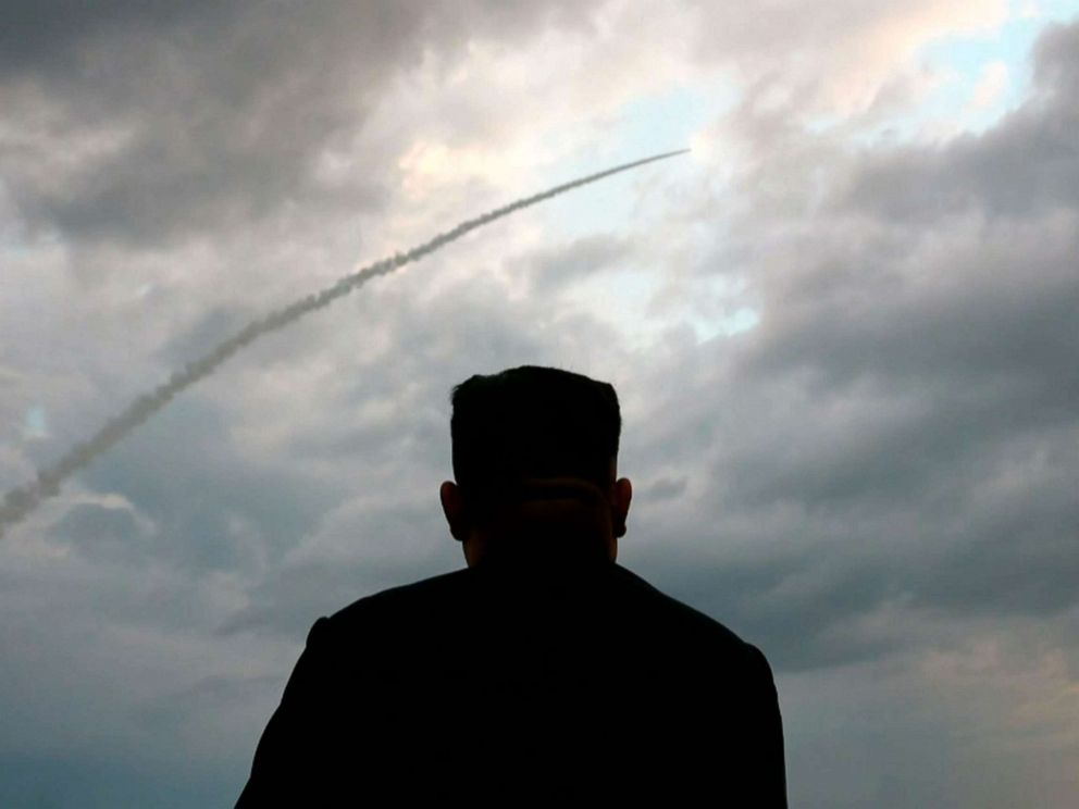 PHOTO: This screen grab image taken from North Korean broadcaster KCTV on Aug. 1, 2019, shows North Korean leader Kim Jong Un watching the launch of a ballistic missile at an unknown location in North Korea early on July 31.