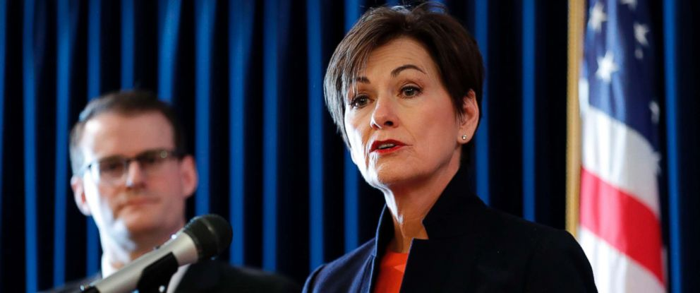 PHOTO: In this Jan. 8, 2018 file photo, Iowa Gov. Kim Reynolds speaks during a news conference.