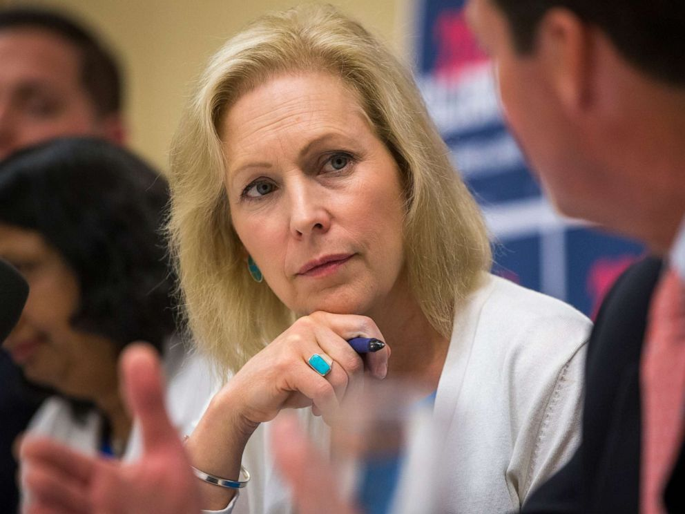 PHOTO: Sen. Kirsten Gillibrand participates in a mental health table discussion at Amoskeag Health in Manchester, N.H., on Aug. 20, 2019.