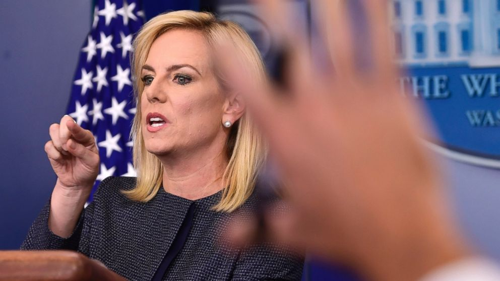 Department of Homeland Security Secretary Kirstjen Nielsen calls on a reporter during the daily briefing at the White House in Washington, Monday, June 18, 2018.