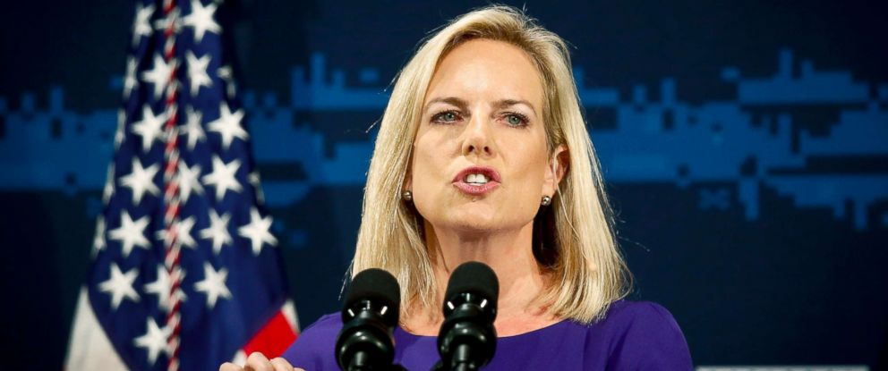 PHOTO: Secretary of Homeland Security Kirstjen Nielsen address the Department of Homeland Security (DHS) National Cybersecurity Summit, July 31, 2018, in New York.