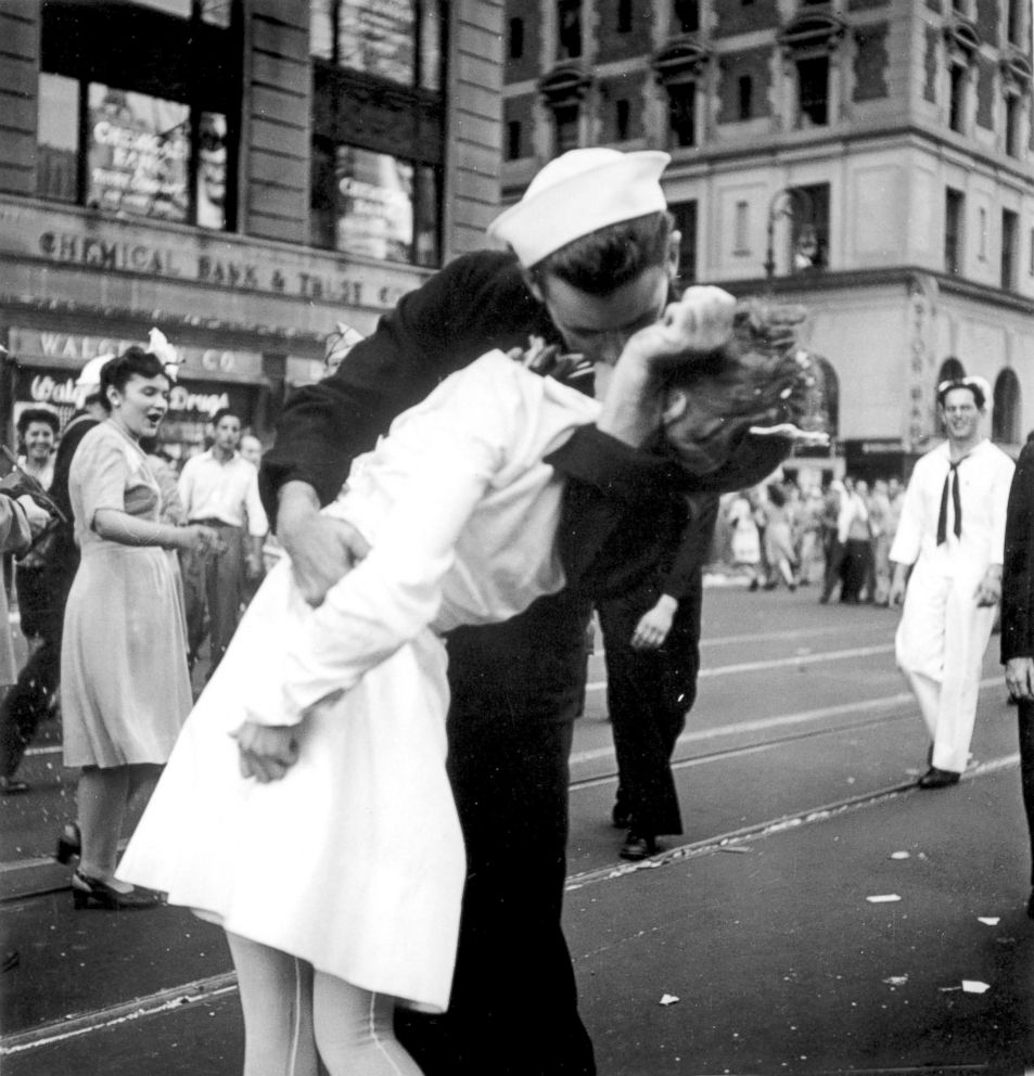 PHOTO: A sailor and a woman kiss in New Yorks Times Square, as people celebrate the end of World War II, Aug. 14, 1945.