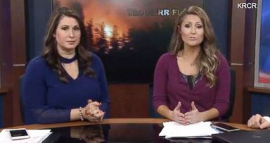 PHOTO: KRCR-TV anchors Tamara Damante and Allison Woods were forced to evacuate the news station while reporting on the Carr Fire in Redding, Calif., July 26, 2018.