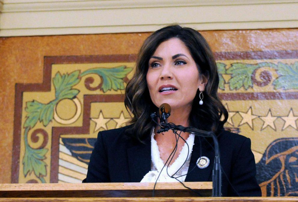 PHOTO: South Dakota Gov. Kristi Noem gives her first State of the State address in Pierre, S.D. South Dakota, Jan. 2019.