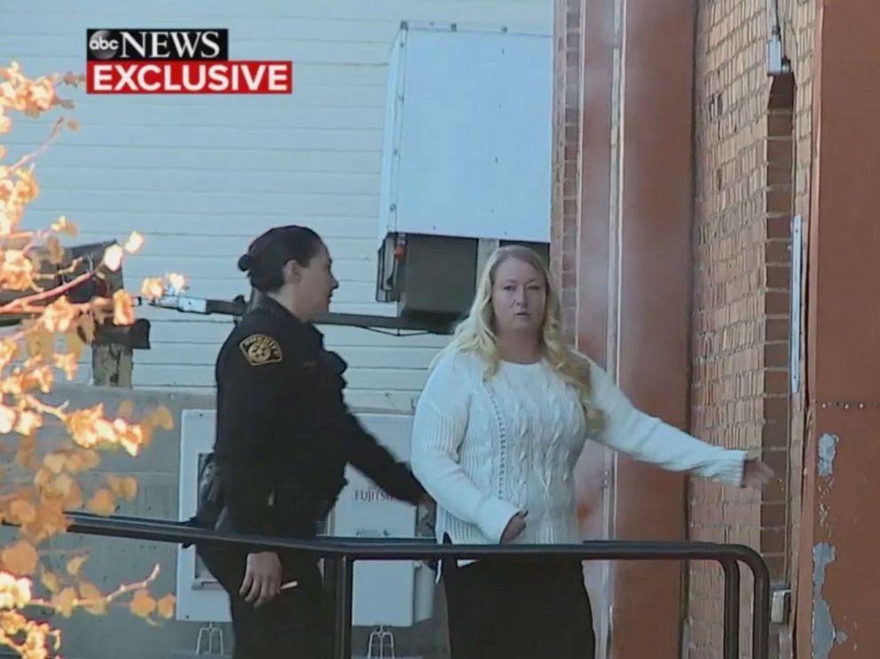 PHOTO: In this screen grab from an exclusive ABC News video, Krystal Lee arrives at the courthouse in Cripple Creek, CO.