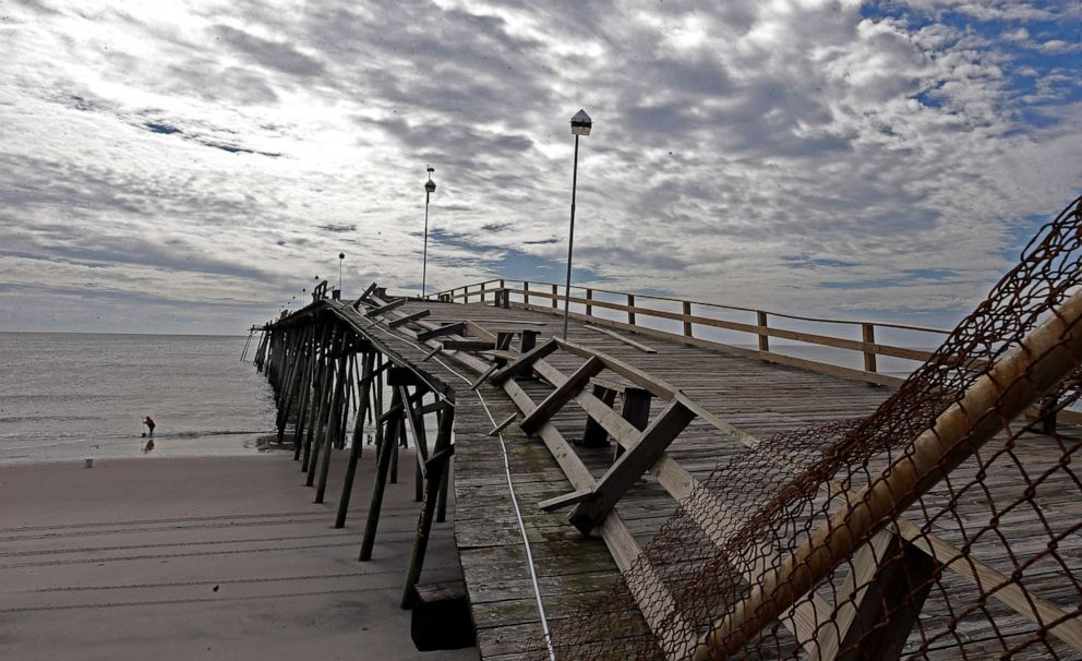 PHOTO: AA portion of the Kure Beach Pier lies damaged following the effects of Hurricane Dorian in Kure Beach, N.C., Sept. 6, 2019.