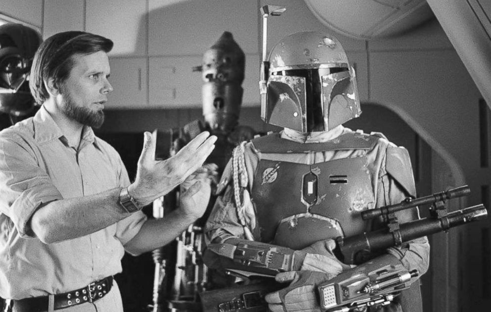 PHOTO: Producer Gary Kurtz on the set of The Empire Strikes Back with actor Jeremy Bulloch in costume as Boba Fett.