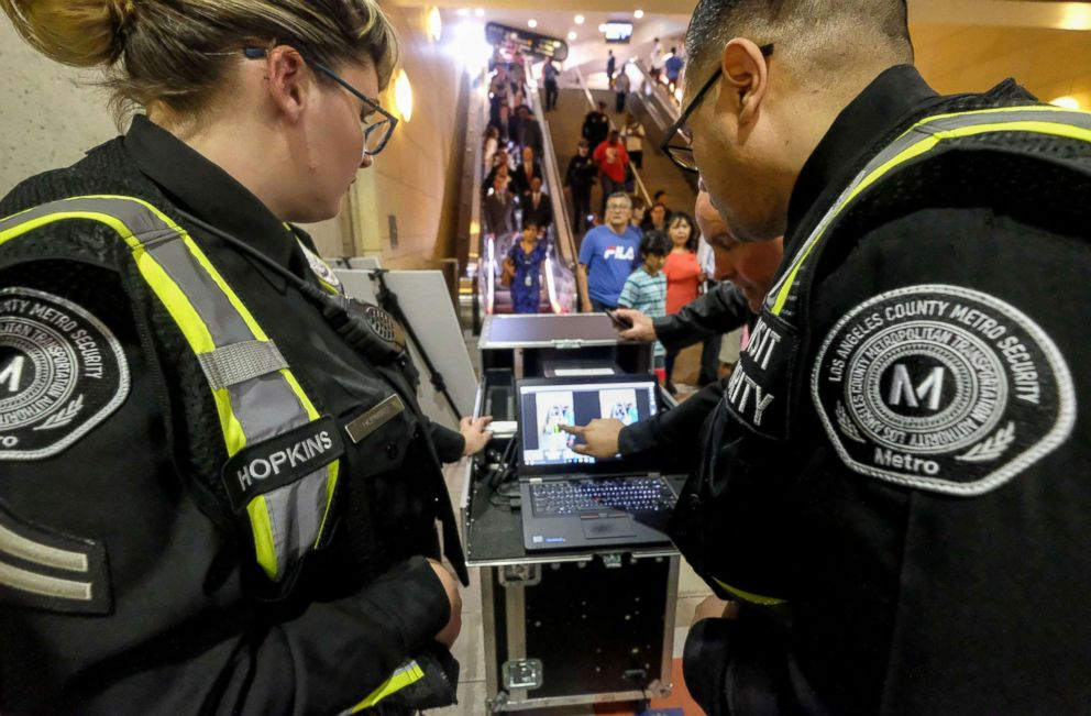 Los Angeles County Metropolitan Transportation Authority (Metro) police officers working with the TSA-vetted and approved Thruvision portable, advanced passenger screening technology, August 14, 2018 in Los Angeles.