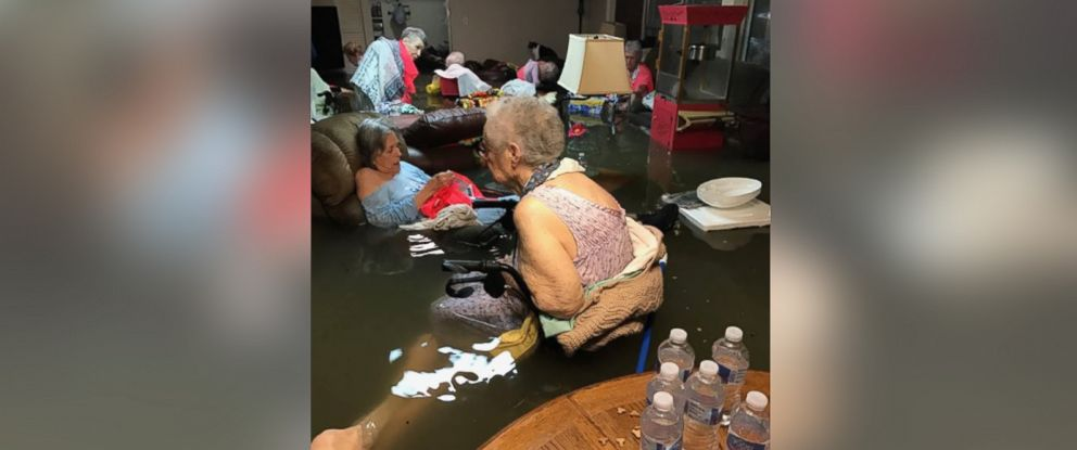PHOTO: La vita Bella nursing home in Dickinson Texas is almost underwater with nursing home patients, Aug. 27, 2017.