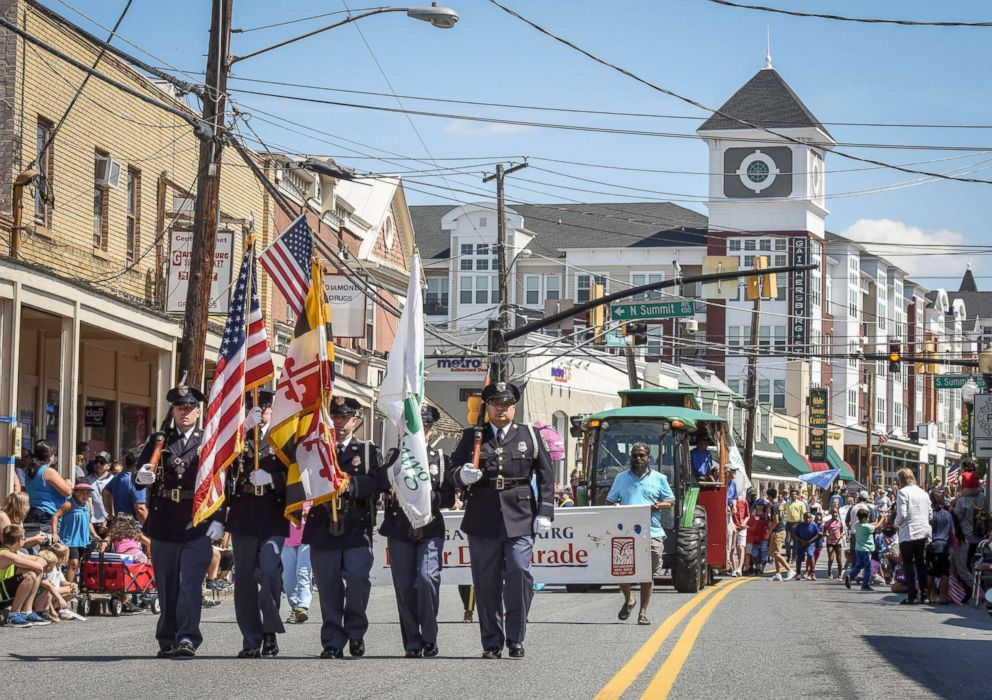 PHOTO: In this file photo a police honor guard leads off the annual Labor Day parade, Sept. 4, 2017, in Gaithersburg, Md.