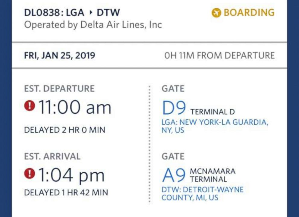 PHOTO: A screen grab from a travelers smartphone airline app shows a two-hour delay for the departure of their flight from LaGuardia Airport to Detroit on Jan. 25, 2019.