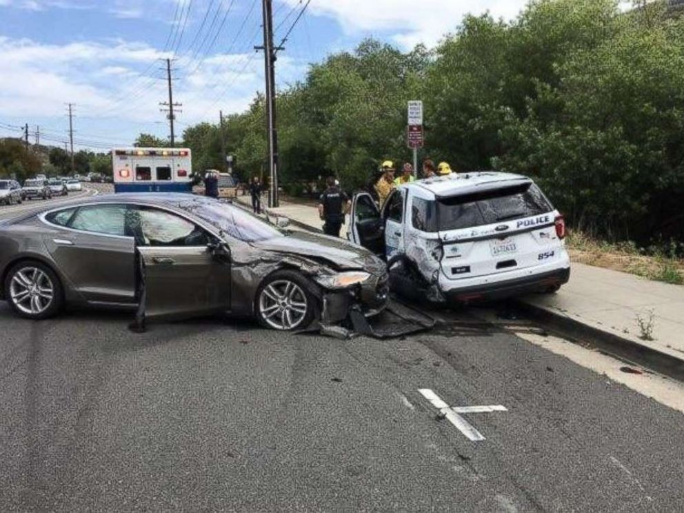 Police say a Tesla was in Autopilot mode when it hit a police vehicle in Laguna Beach, Calif., on Tuesday, May 29, 2018.