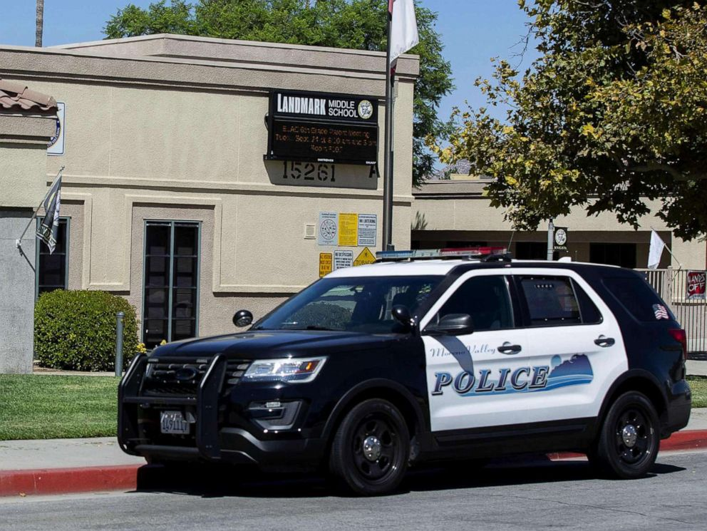 PHOTO: A police car sits in front of the Landmark Middle School in Moreno Valley, Calif., Sept. 18, 2019.