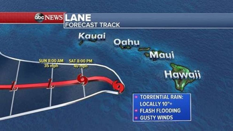 The path for Lane will take it away from the Hawaiian Islands over the next two days.