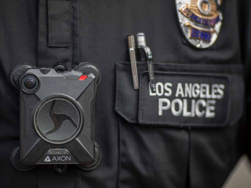PHOTO: A Los Angeles police officer wears an AXON body camera, Feb. 18, 2017, in Los Angeles.