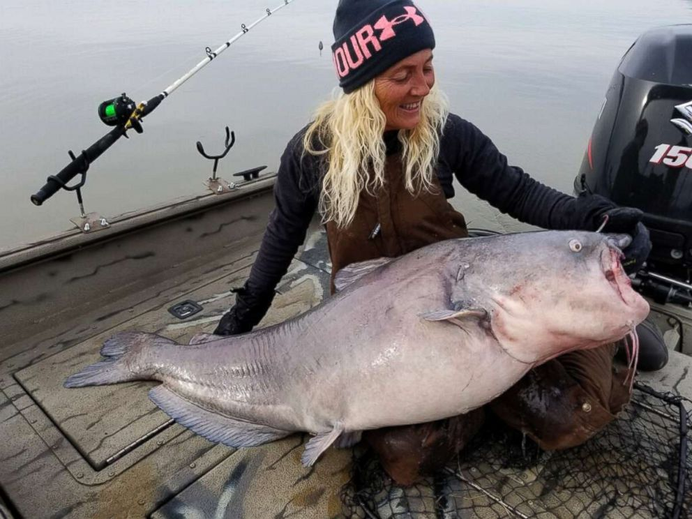 PHOTO: Paula Cathey Smith caught an 88-pound catfish in the Tennessee River, Dec. 30, 2018, before releasing it back in the water.