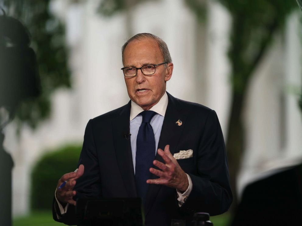 PHOTO: White House chief economic adviser Larry Kudlow speaks during a television interview outside the West Wing of the White House, in Washington, May 18, 2018.