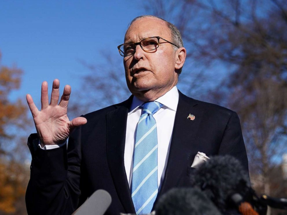 PHOTO: Director of the National Economic Council Larry Kudlow speaks to reporters outside the White House, Dec. 3, 2018.