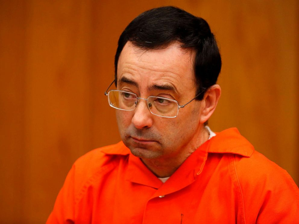 University and USA Gymnastics doctor Larry Nassar listens during the sentencing phase in Eaton County Circuit Court on Jan. 31 2018 in Charlotte Mich