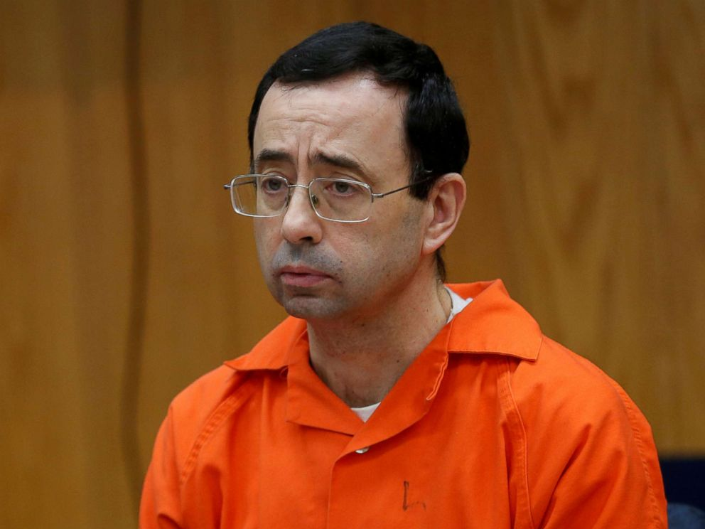 PHOTO: Larry Nassar, a former team USA Gymnastics doctor who pleaded guilty in November 2017 to sexual assault, listens to victims impact statements during his sentencing in the Eaton County Circuit Court in Charlotte, Mich., Jan. 31, 2018.