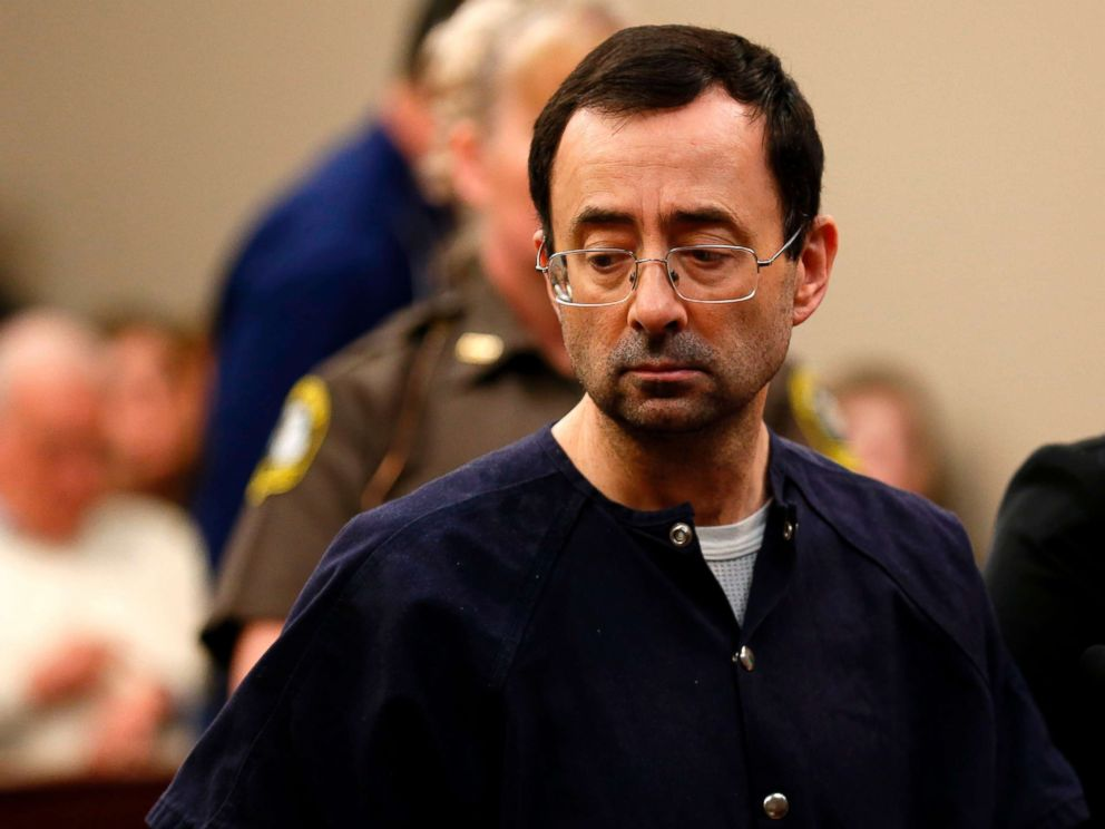 PHOTO: Former Michigan State University and USA Gymnastics doctor Larry Nassar addresses the court during the sentencing phase in Ingham County Circuit Court on Jan. 24, 2018, in Lansing, Mich.