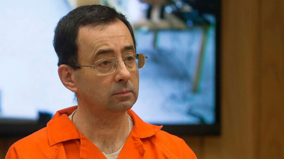 Former Michigan State University and USA Gymnastics doctor Larry Nassar appears in court for his final sentencing phase in Eaton County Circuit Court, Feb. 5, 2018 in Charlotte, Michigan.