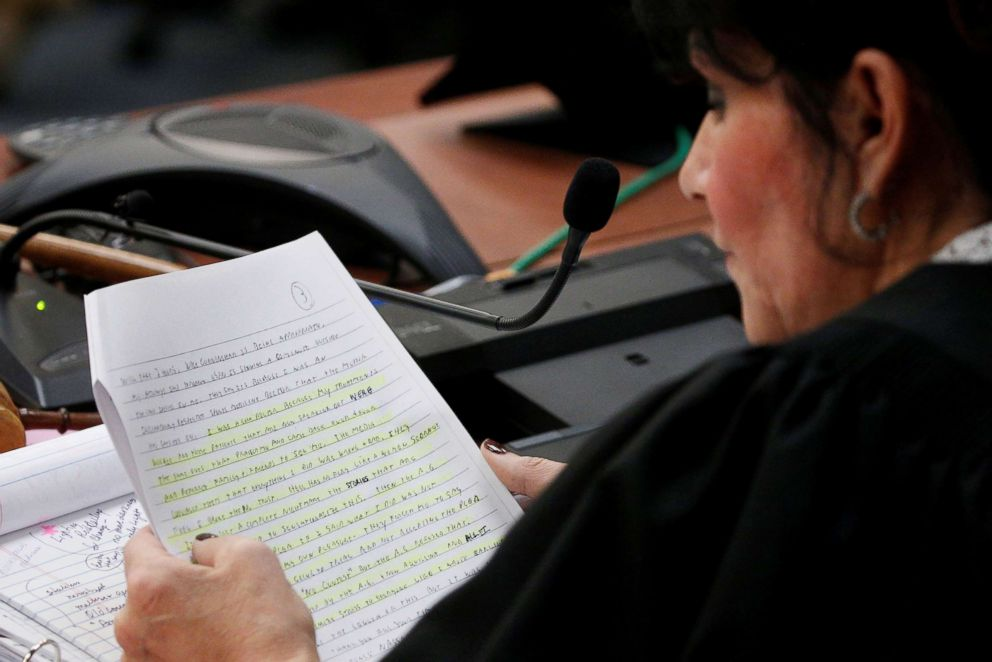 PHOTO: Circuit Court Judge Rosemarie Aquilina reads a portion of a letter from Larry Nassar, a former team USA Gymnastics doctor during his sentencing hearing in Lansing, Mich., on Jan. 24, 2018.