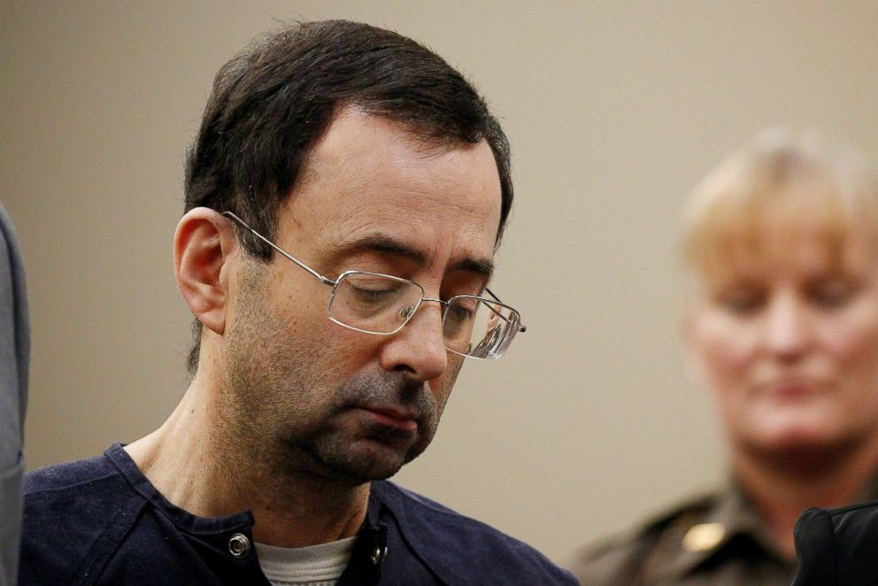 PHOTO: Larry Nassar, a former team USA Gymnastics doctor stands during his sentencing hearing in Lansing, Mich., on Jan. 24, 2018.