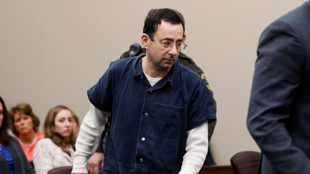 Dr. Larry Nassar, a former team USA Gymnastics doctor who pleaded guilty in November 2017 to sexual assault charges, arrives in the courtroom for his sentencing hearing in Lansing, Mich., Jan. 16, 2018.