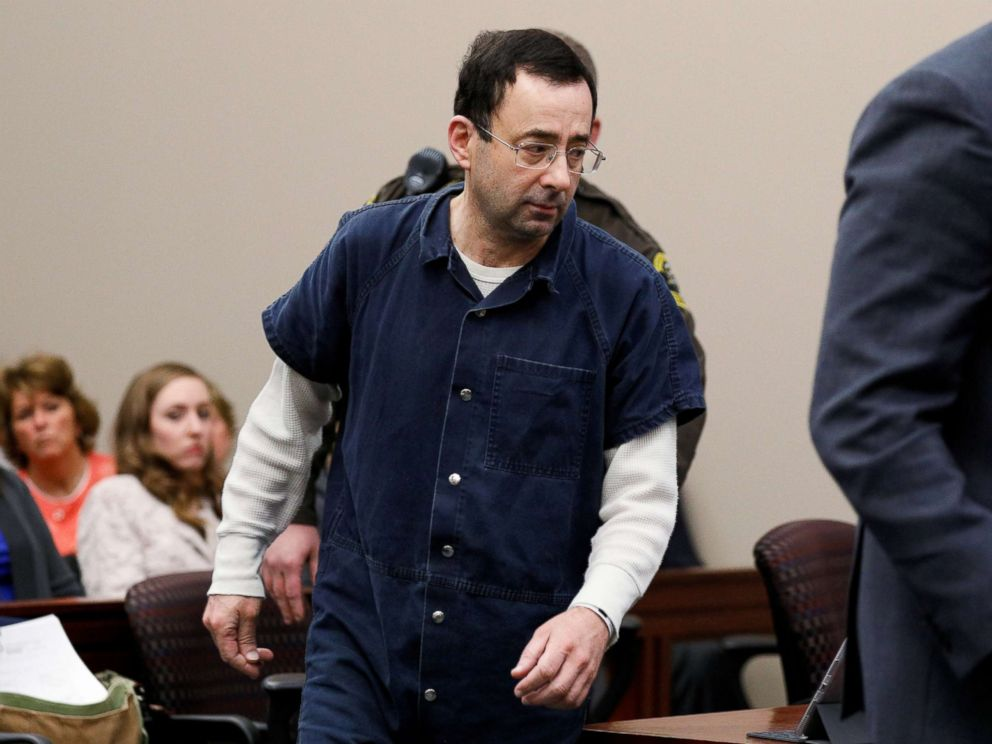 PHOTO: Dr. Larry Nassar, a former team USA Gymnastics doctor who pleaded guilty in November 2017 to sexual assault charges, arrives in the courtroom for his sentencing hearing in Lansing, Mich., Jan. 16, 2018.