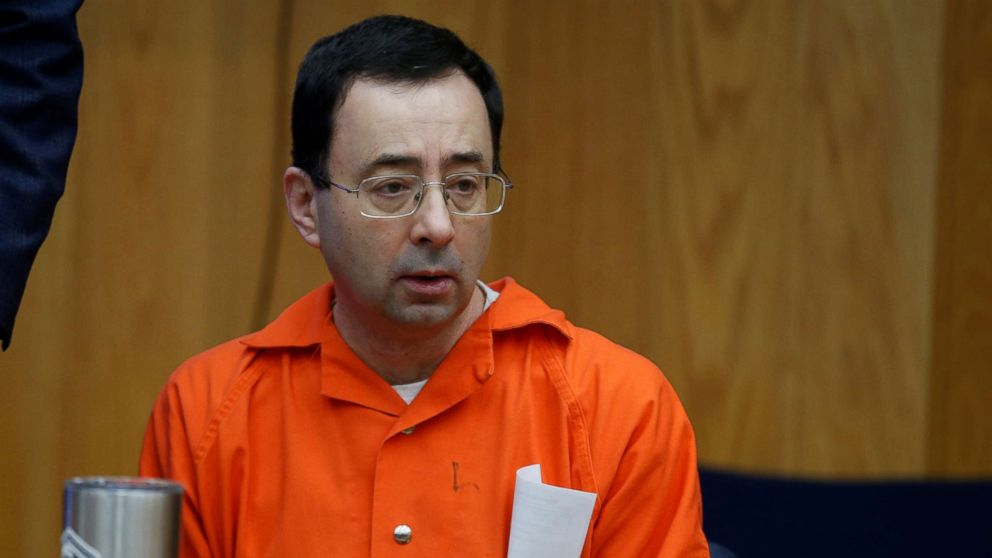 Larry Nassar sits in the court room during victim statements of his second sentencing in the Eaton County Circuit Court in Charlotte, Michigan, Jan. 31, 2018.