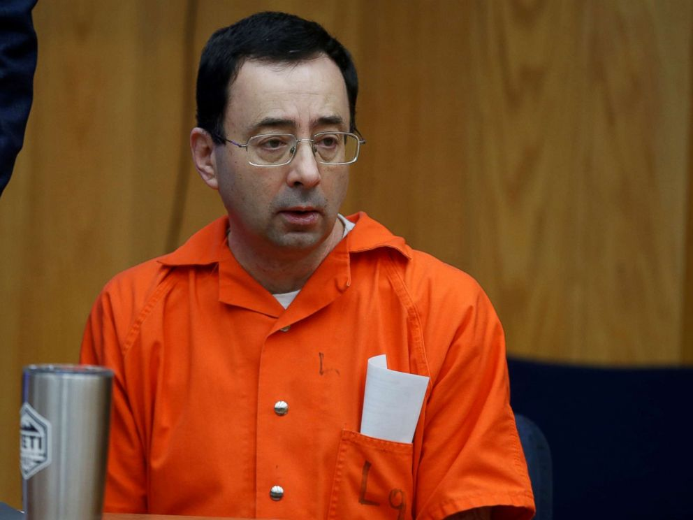 PHOTO: Larry Nassar sits in the court room during victim statements of his second sentencing in the Eaton County Circuit Court in Charlotte, Michigan, Jan. 31, 2018.