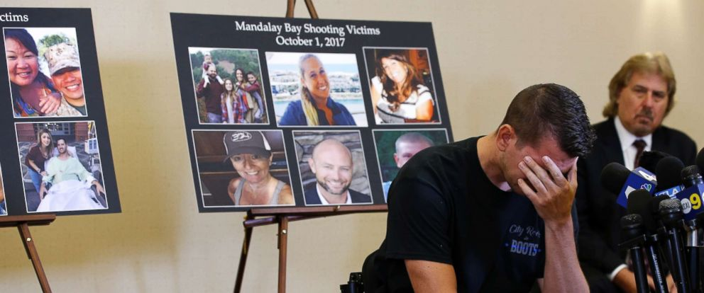 PHOTO: Jason McMillan, 36, of Riverside, a Riverside County Sheriffs deputy who was shot and paralyzed in the Oct, 1, 2017, Las Vegas shooting, reacts during a news conference in Newport Beach, Calif., July 23, 2018.