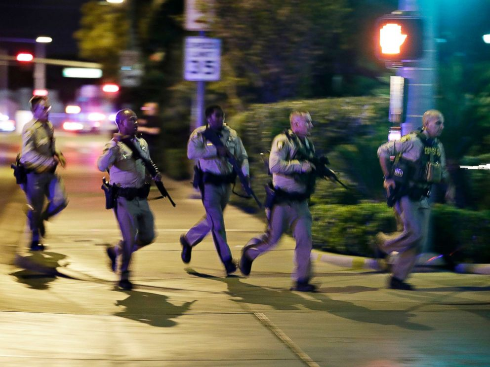 PHOTO: Police run at the scene of a shooting near the Mandalay Bay resort and casino on the Las Vegas Strip, Oct. 1, 2017, in Las Vegas.