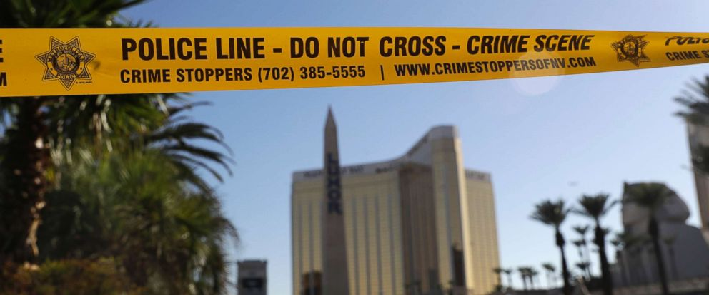 PHOTO: In this Oct. 4, 2017 file photo, part of Reno Ave. near South Las Vegas Blvd is blocked with police tape in the aftermath of a mass shooting in Las Vegas.