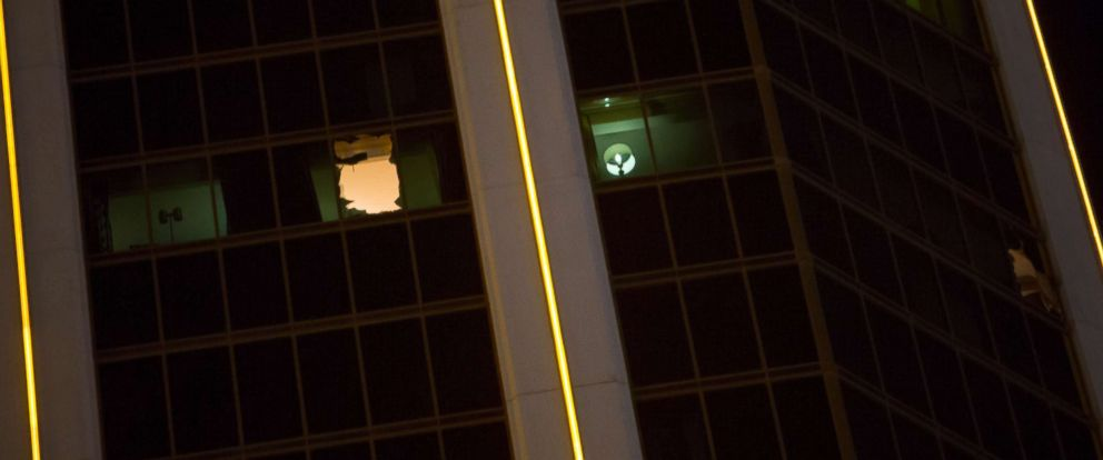 PHOTO: Broken windows are visible in a 32nd-floor suite at the Mandalay Bay Resort and Casino from which a gunman opened fire in Las Vegas, Oct. 2 , 2017.
