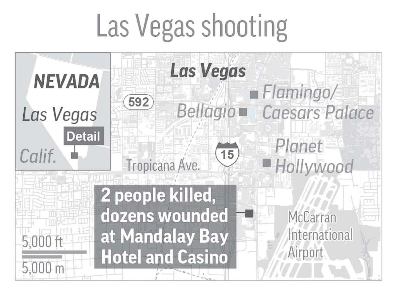 Photo Map Shows Location Of A Shooting At Mandalay Bay Hotel And